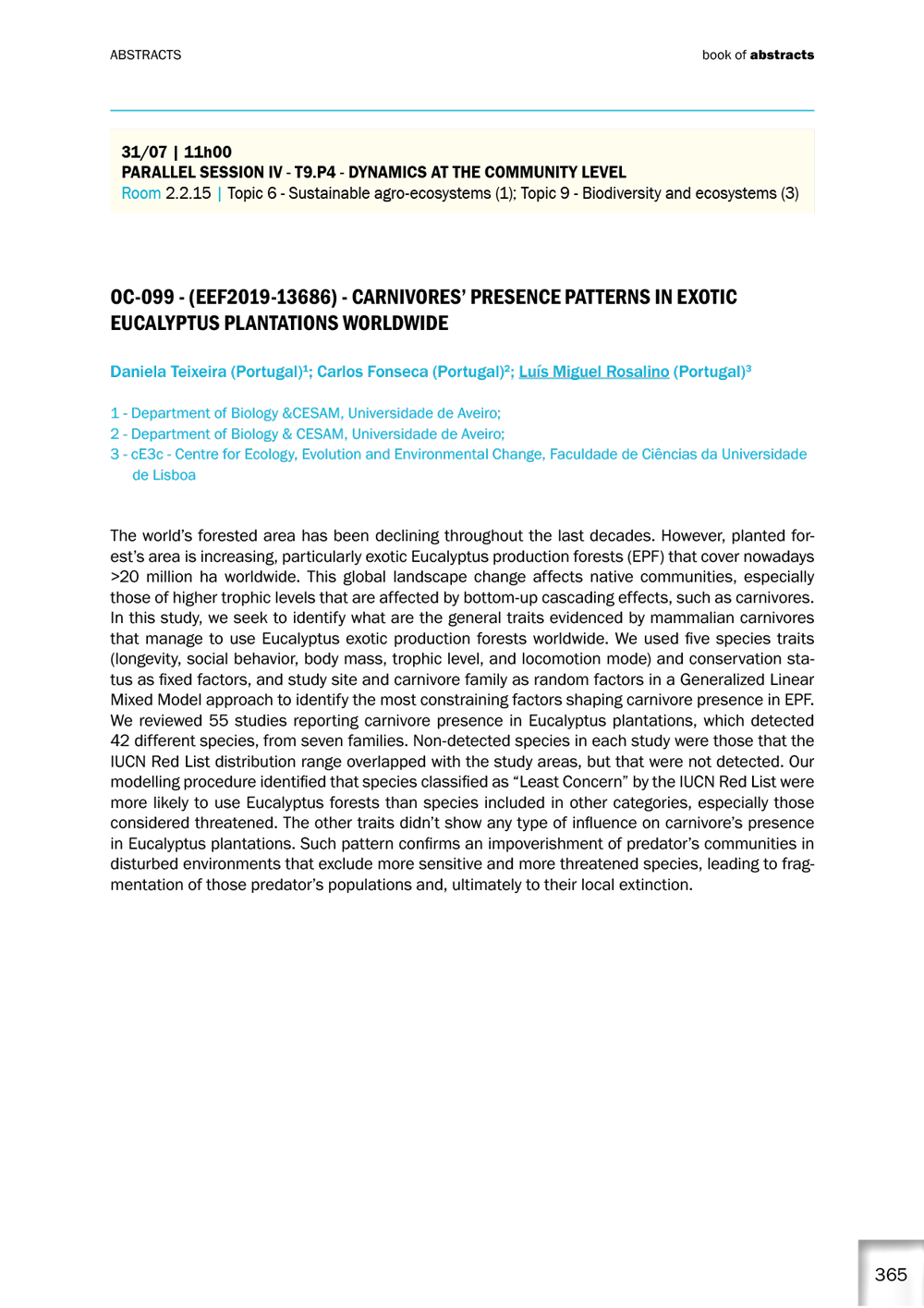 15th European Ecological Federation Congress  – Lisboa